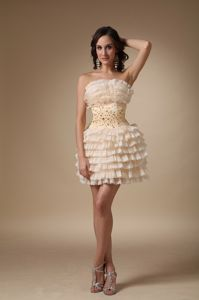 Champagne Strapless Mini-Length Layered Homecoming Cocktail Dress with Beading