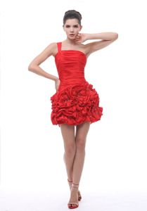 One-Shoulder Mini-Length Sheath Homecoming Cocktail Dress with Beaded Flowers