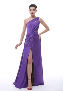 Purple One-Shoulder Floor-Length Celebrity Homecoming Dress with Cutouts and Slit
