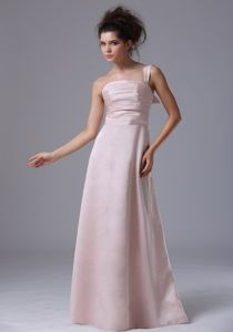 Baby Pink One-Shoulder Floor-Length Homecoming Dress for Junior with Ruching