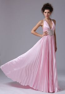 Florida Pink Halter Ruched Party Dresses for Homecoming with Appliques and Pleats