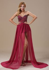 Wine Red Sweetheart High-Low Brush Train Homecoming Dresses with Beading