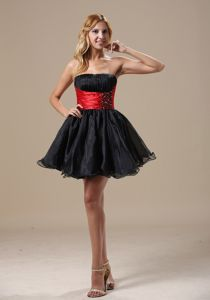 Mini-Length Strapless Beaded Ruched Homecoming Cocktail Dress with Red Belt