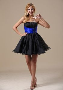 Mini-Length Strapless Beaded Ruched Homecoming Cocktail Dress with Blue Belt