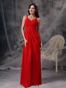 Alaska Straps Ruched Red Homecoming Dress for Prom with Beading and Cutout Back
