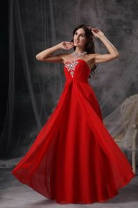 Red Sweetheart Floor-Length Homecoming Dress for Prom with Appliques in Arizona