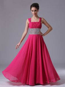 Fuchsia Straps Column Ruched Homecoming Dresses for Prom with Beaded Belt