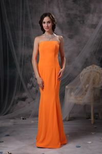 Orange Mermaid Floor-Length Strapless Celebrity Homecoming Dress in Connecticut