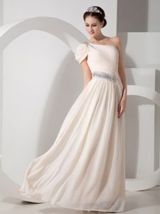 One-Shoulder Champagne Floor-Length Ruched Junior Homecoming Dress with Beading