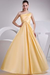 Light Yellow One-Shoulder Floor-Length Homecoming Dress for Prom with Beading