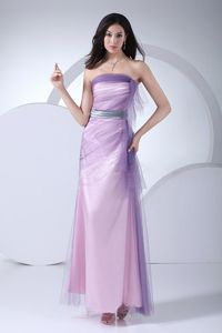 Lavender Ankle-Length Strapless Junior Homecoming Dress with Lace and Silver Belt