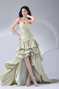 Light Olive Sweetheart High-Low Beaded Homecoming Dress for Prom with Pick-ups
