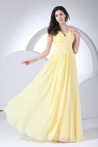 Simple Light Yellow V-Neck Floor-Length Homecoming Dress for Prom with Ruching
