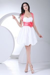 White Sweetheart Mini-Length Criss Cross Homecoming Dress with Pink Belt and Flower