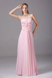 Baby Pink Ruched Strapless Homecoming Dress for Prom with Pleats and Beading