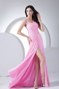One-Shoulder Pink Ruched Brush Train Homecoming Dress for Prom with Beading