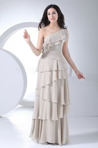 Light Gray One-Shoulder Layered Homecoming Dress for Junior with Flounce in Alaska