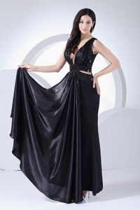 Plunging Neckline Straps Black Homecoming Dress with Beading and Cutout Waist