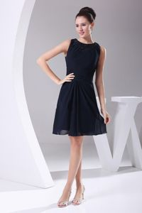 Navy Blue Scoop Straps Short-Length Homecoming Cocktail Dresses with Beading