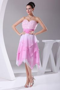Omber Pink Sweetheart Asymmetrical Homecoming Dresses with Rosettes and Belt