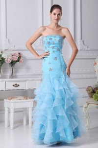 Sky Blue Mermaid Strapless Appliqued Homecoming Dresses for Prom with Ruffles