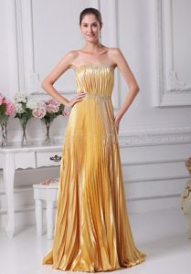 Gold Strapless Floor-Length Beaded Empire Celebrity Homecoming Dress with Pleats