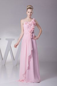 Baby Pink One-Shoulder Ruched Homecoming Dresses with Beading and Flowers