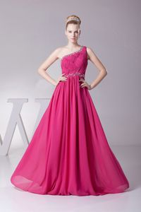 Fuchsia One-Shoulder A-Line Ruched Homecoming Dresses for Prom with Beading