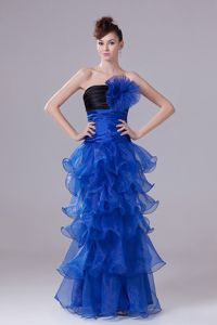 Royal Blue Sheath Floor-Length Layered Ruched Ruffled Homecoming Dress with Flower