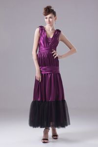 Purple Ankle-Length Straps Ruched Celebrity Homecoming Dresses with Appliques