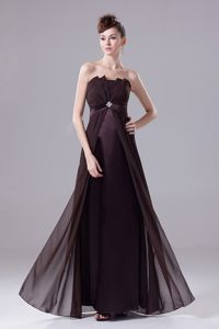 Brown Strapless Empire Appliqued Homecoming Dress for Prom with Shell Neckline