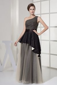 One-Shoulder Column Floor-Length Ruched Layered Homecoming Dress with Black Belt
