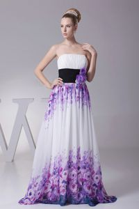 Strapless Column Floral Printed Ruched Homecoming Dress with Black Belt and Flowers
