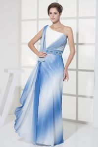 Multi-Colored One-Shoulder Floor-Length Ruched Homecoming Dress with Beaded Belt