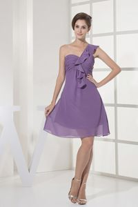 Dark Lilac One-Shoulder Short-Length Flounced Ruched Homecoming Cocktail Dresses