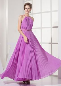 Lavender Floor-Length Scoop Straps Homecoming Dress for Junior with Pleats and Belt