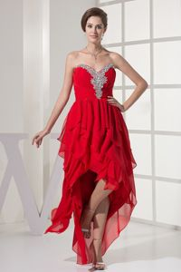 Red Layered Sweetheart High-Low Ruched Homecoming Dress for Prom with Appliques