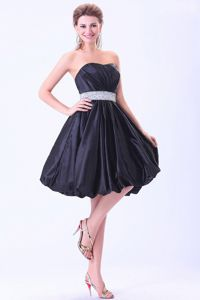 Navy Blue Strapless Knee-Length Homecoming Cocktail Dresses with Beaded Belt