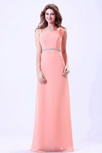 Watermelon Spaghetti Straps Floor-Length Beaded Homecoming Dress with Flowers