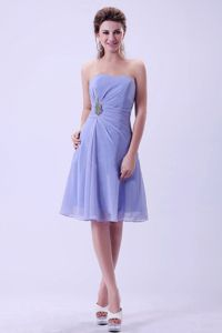 Lavender Column Knee-Length Strapless Homecoming Dress for Junior with Appliques