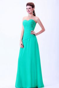 Amazing Ruched Turquoise Long Homecoming Dance Dress for a Cheap Price