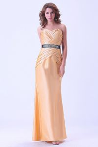 Popular Ruched Gold Long Party Dress for Homecoming in Indiana USA
