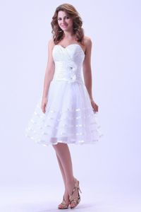 2014 New White Short Homecoming Queen Dresses with Handmade Flowers