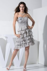 2014 Modest Tiered Gray Short Chiffon Homecoming Dress with Paillette