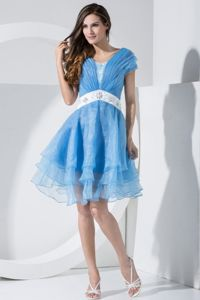 Ruffled Baby Blue Short Homecoming Dance Dresses with Cap Sleeves