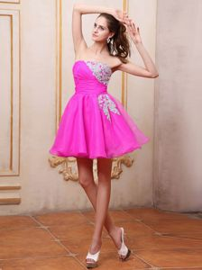 Eye Catching Appliqued Fuchsia Homecoming Dress in Massachusetts USA