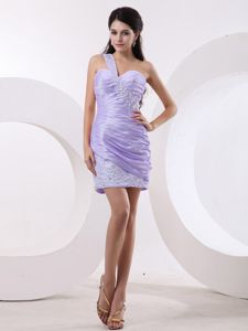 Ruched Beaded Mini Lilac Homecoming Dress One Shoulder in Georgia
