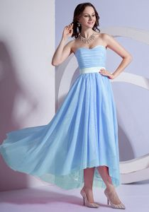 Simple Style High-low Light Blue Evening Homecoming Dress in Alaska