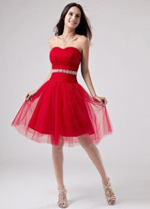 Custom Made Knee-length Red Tulle Homecoming Dance Dresses for Sale