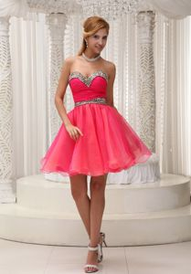 Leopard Print Coral Red Short Homecoming Dresses for Juniors on Discount